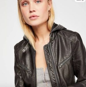 Free Prople Black Vegan Leather Jacket w Hood